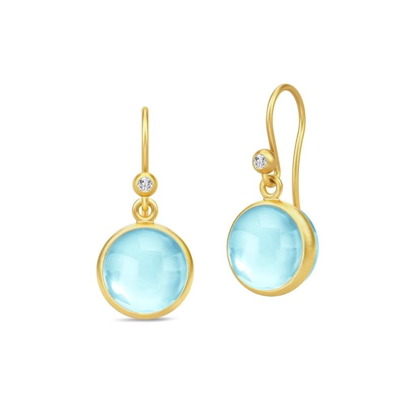 Julie Sandlau Prime ørehænger forgyldt med lyseblå krystal og cubic zirkonia