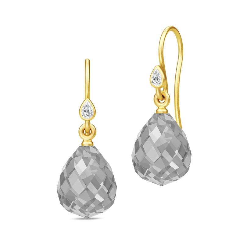 Julie Sandlau Evening Dew Droplet øreringe i forgyldt med grå krystal