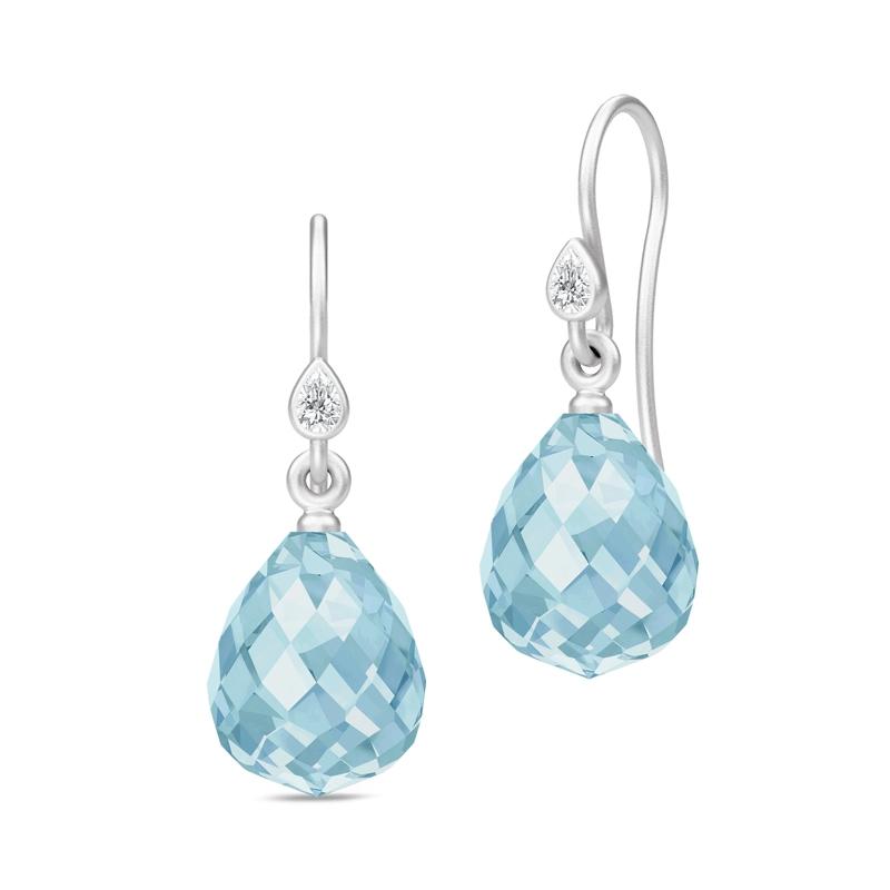 Julie Sandlau Evening Dew Droplet øreringe i sølv med blå krystal