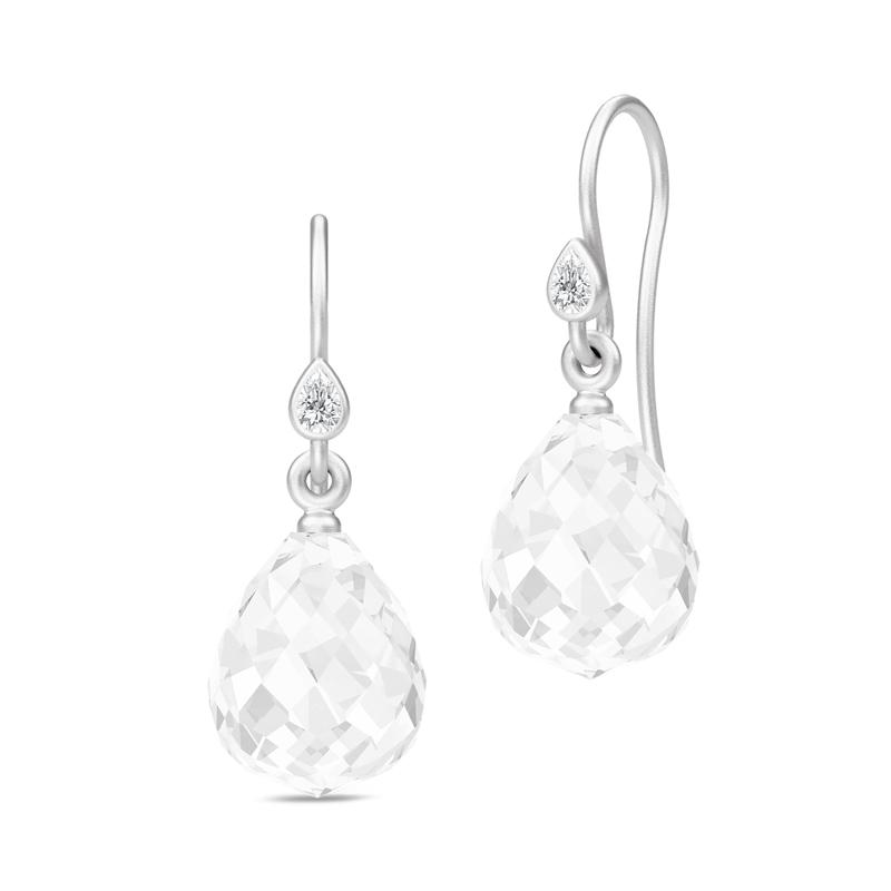 Julie Sandlau Evening Dew Droplet øreringe i sølv med klar krystal