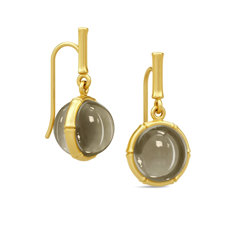 Julie Sandlau Bamboo ørehænger i forgyldt med pyrit krystal