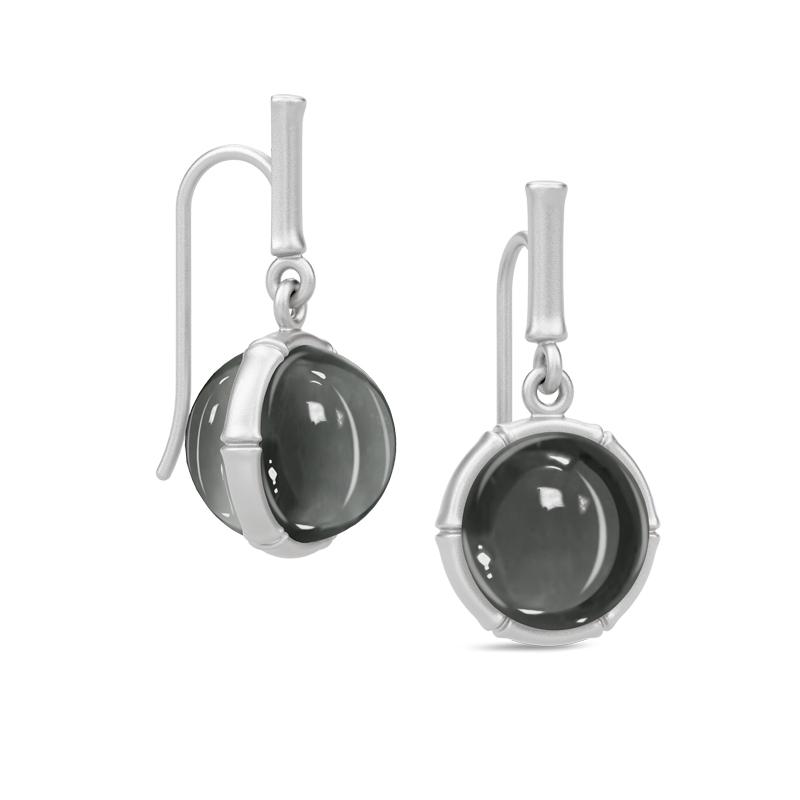 Julie Sandlau Bamboo ørehængere i sølv med hæmatit krystal