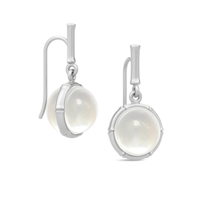 Julie Sandlau Bamboo ørehængere i sølv med perlemor krystal