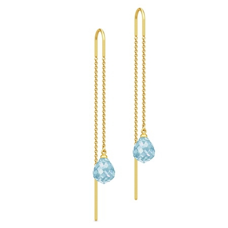 Julie Sandlau Evening Dew ørehænger i forgyldt med blå krystal