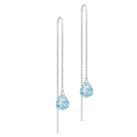 Julie Sandlau Evening Dew ørehænger i sølv med blå krystal