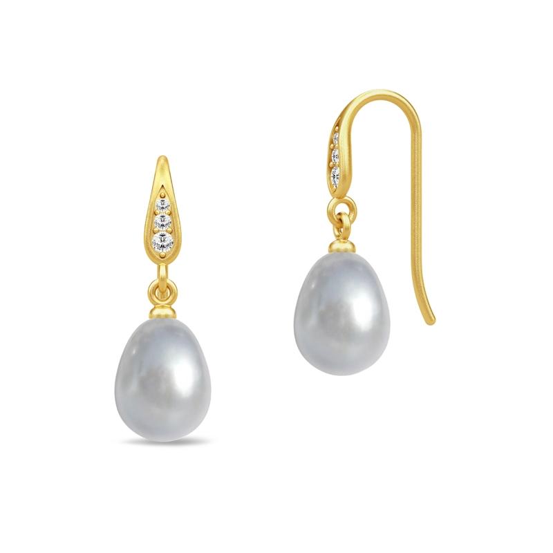 Julie Sandlau Ocean ørehænger i forgyldt med grå perle