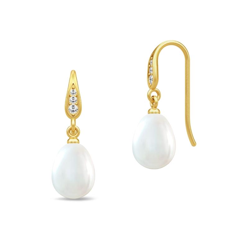 Julie Sandlau Ocean ørehænger i forgyldt med hvid perle