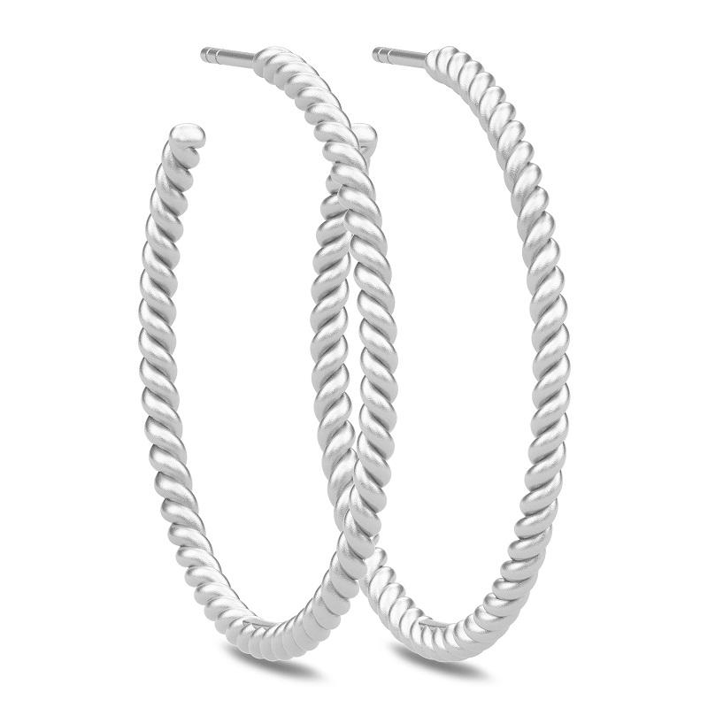 Image of   Julie Sandlau twisted hoops i sølv Ø 35 mm