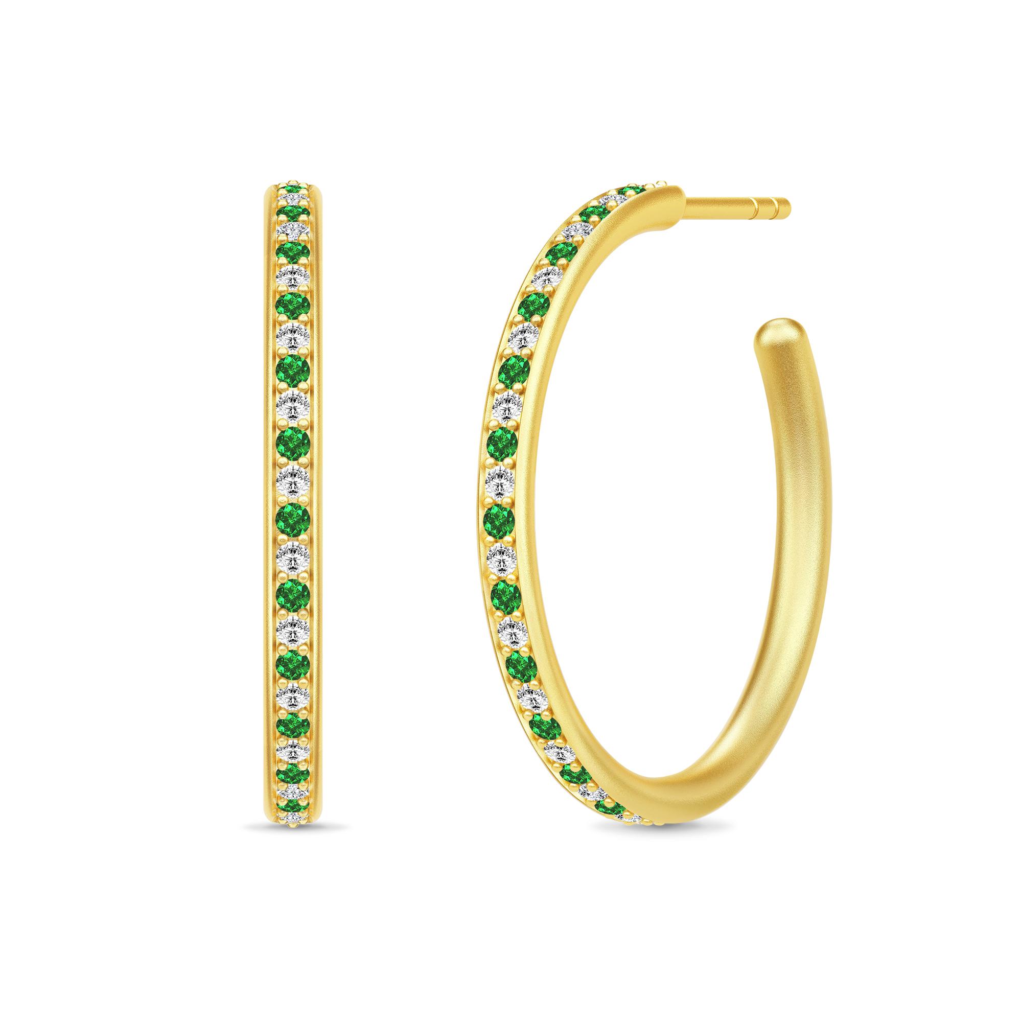 Image of   Julie Sandlau Infinity Hoops øreringe i forgyldt med grøn cz