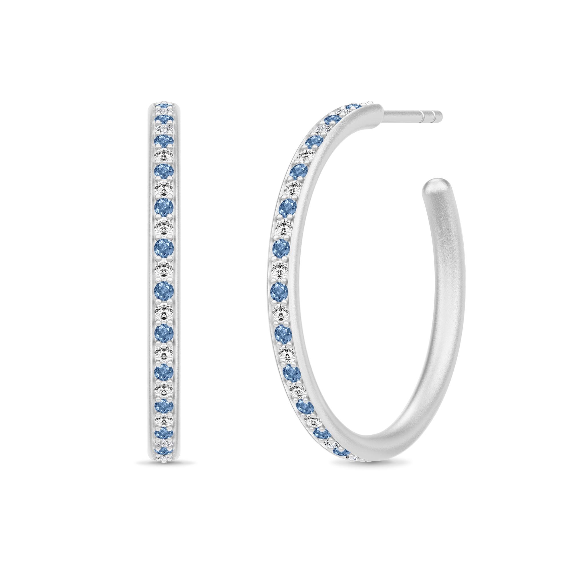 Image of   Julie Sandlau Infinity Hoops øreringe i sølv med blå cz