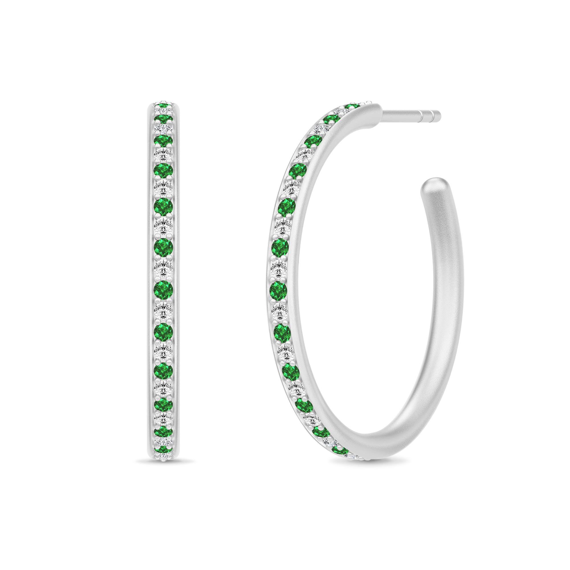 Image of   Julie Sandlau Infinity Hoops øreringe i sølv med grøn cz