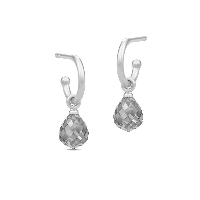 Julie Sandlau Evening Dew sølv mini øreringe med grå krystal