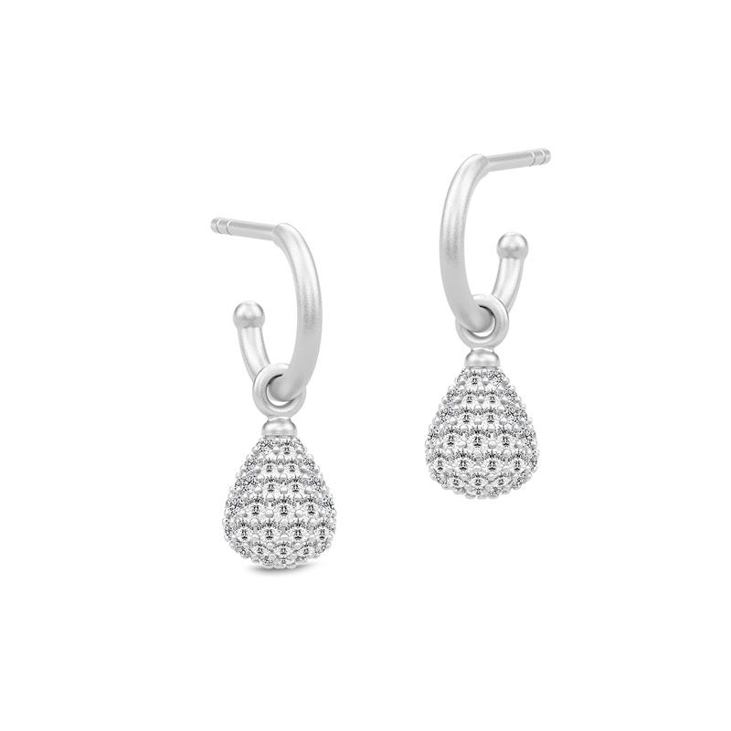 Julie Sandlau Morning Dew sølv pave mini øreringe med cubic zirkonia