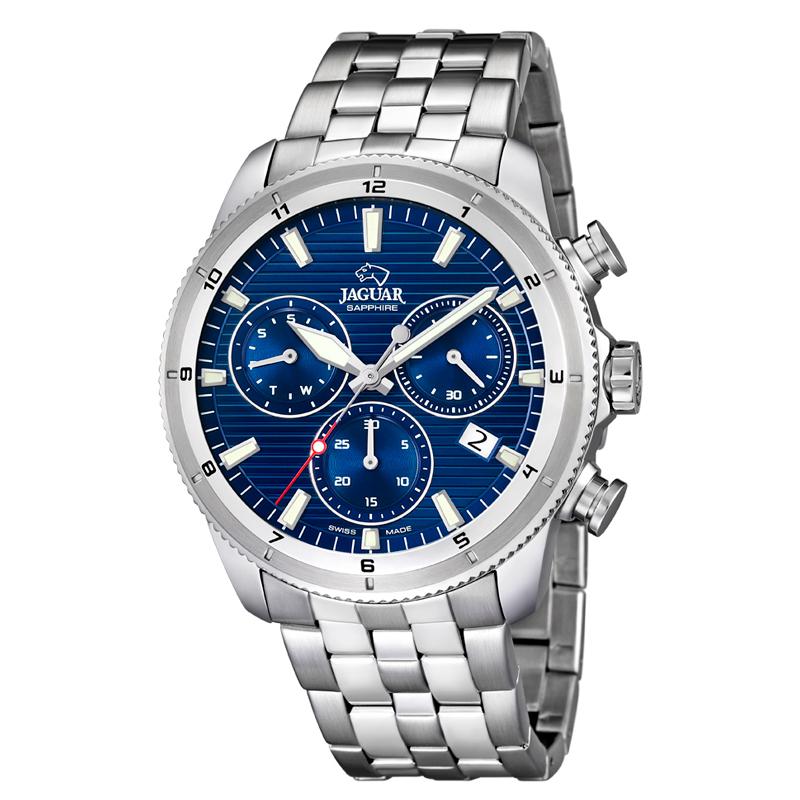 Image of   JAGUAR chrono armbåndsur med blå skive og lænke