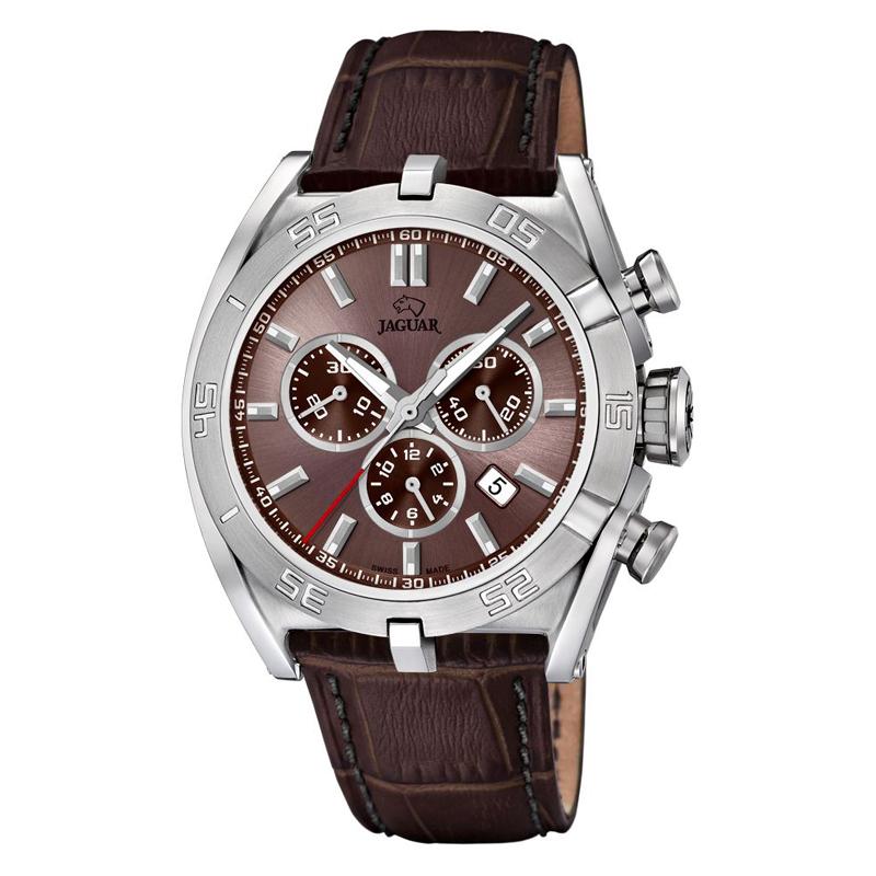 JAGUAR Special Edition 2017 chrono armbåndsur i stål med brun skive og rem thumbnail