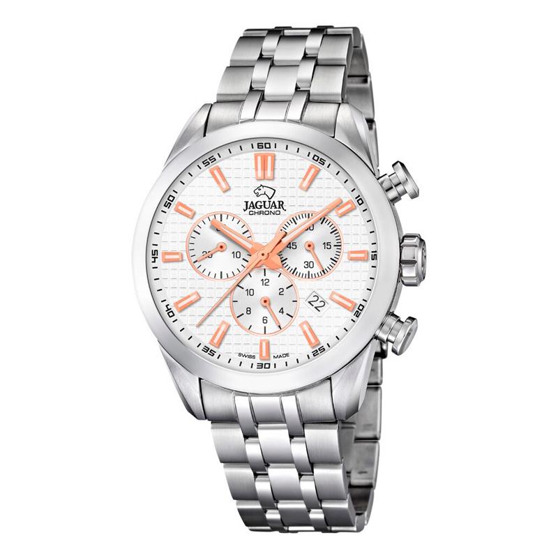 Image of   JAGUAR ACAMAR chrono armbåndsur i stål med hvid skive