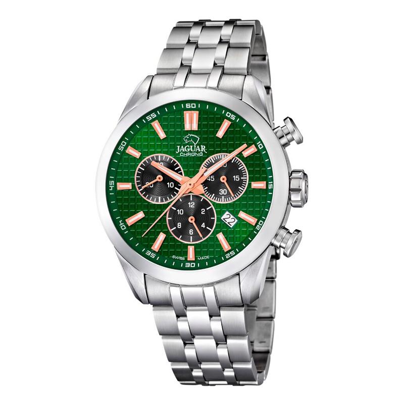 Image of   JAGUAR ACAMAR chrono armbåndsur i stål med grøn skive