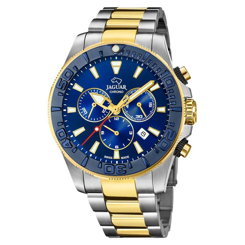 Image of   Jaguar Diver XXL chronograph bicolour armbåndsur med blå skive
