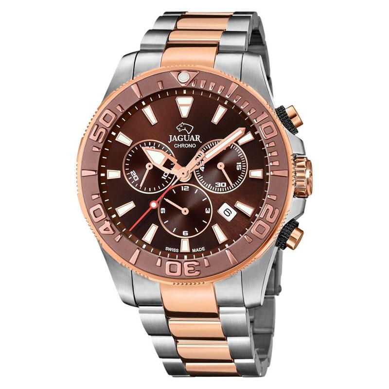 Image of   Jaguar Diver XXL chronograph bicolour armbåndsur med brun skive