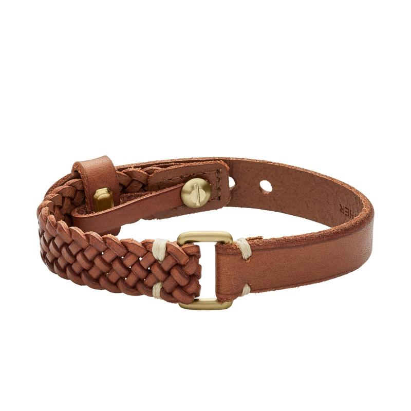 Fossil læderarmbånd i brun læder