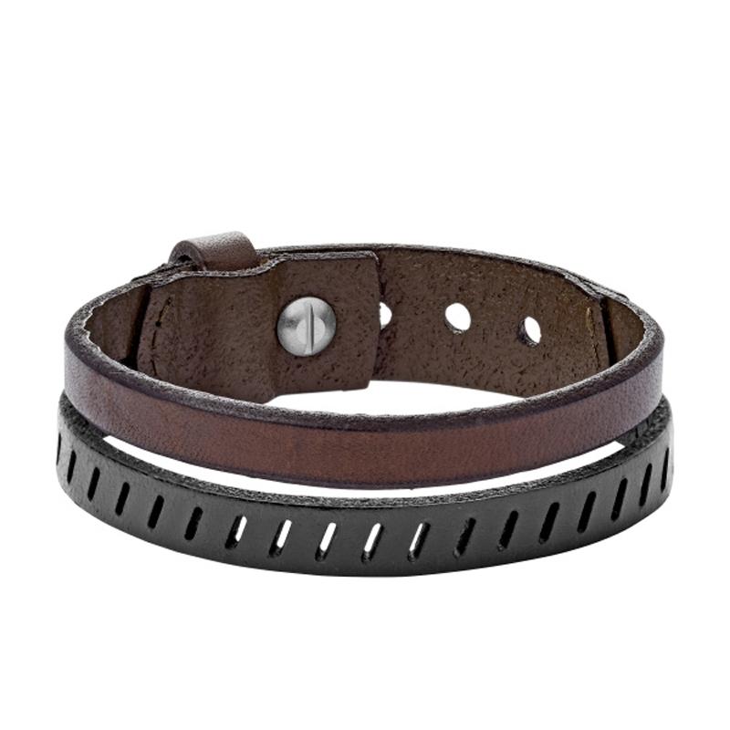 FOSSIL armbånd i brunt og sort læder