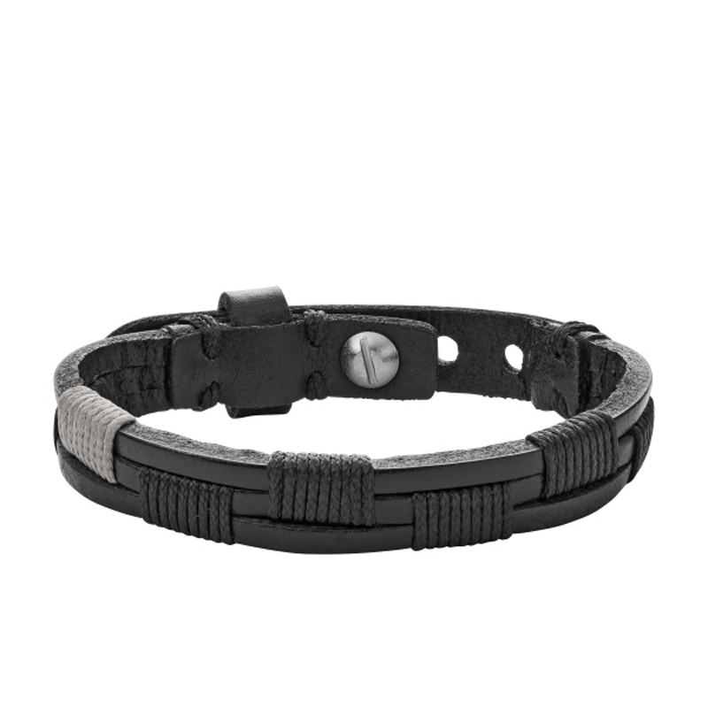 FOSSIL sort Læderarmbånd med grå og sort snore