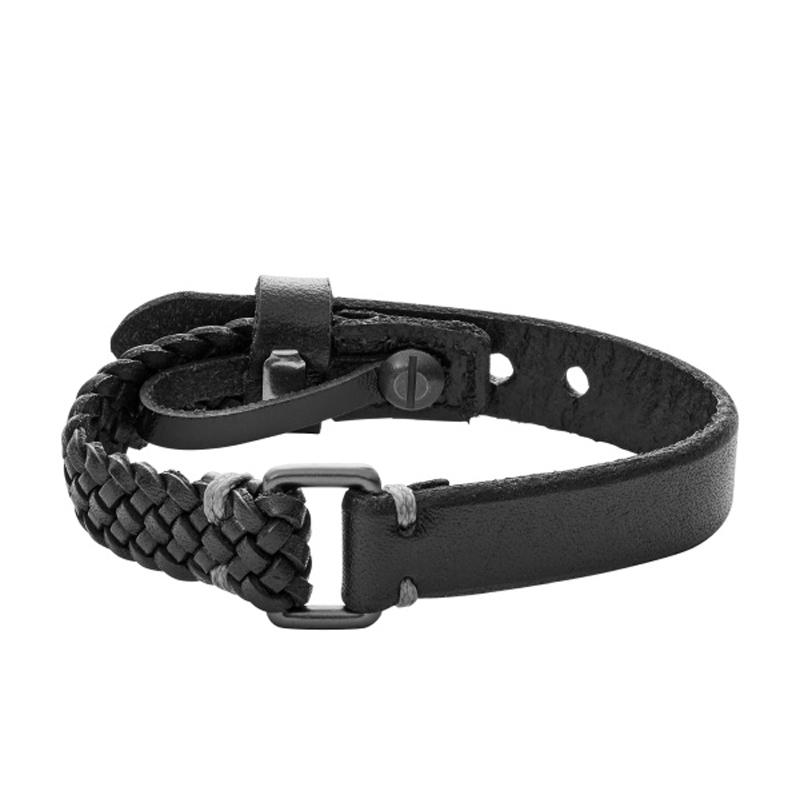 FOSSIL sort læderarmbånd glat/flettet