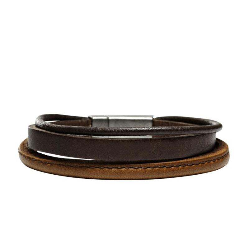 FOSSIL læderarmbånd i brune farver