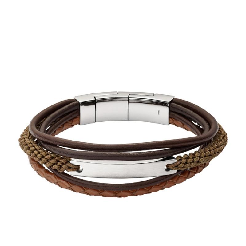 Fossil armbånd brun læder og mørkt rustfri stål