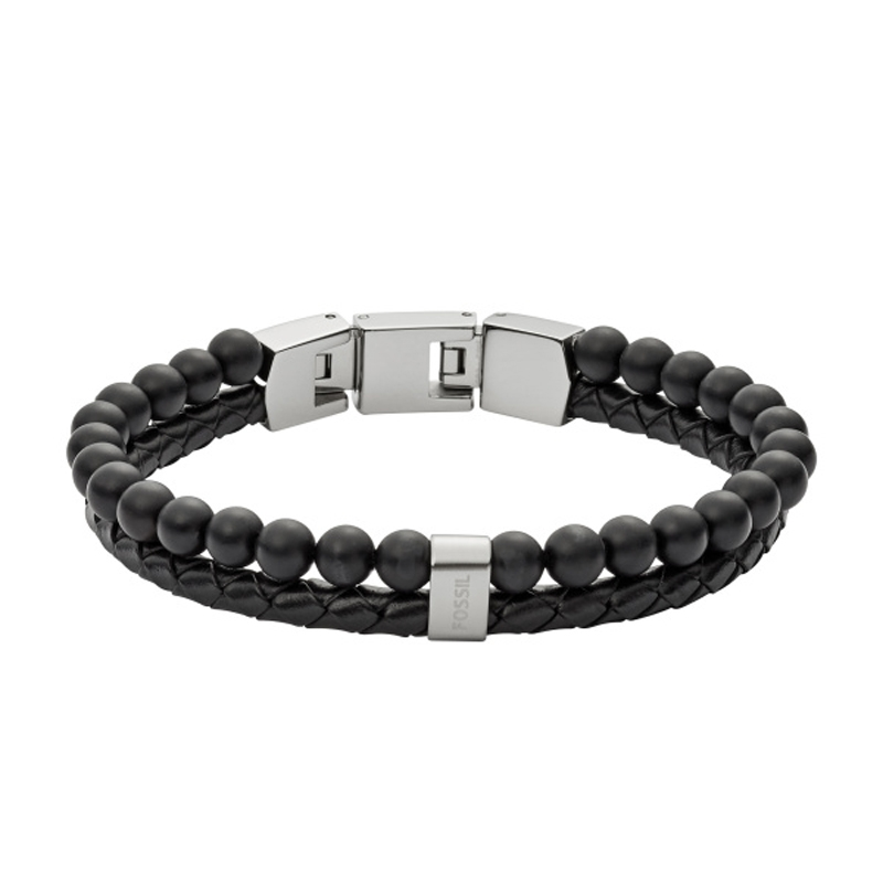 FOSSIL Vintage Casual sort armbånd i læder og perler