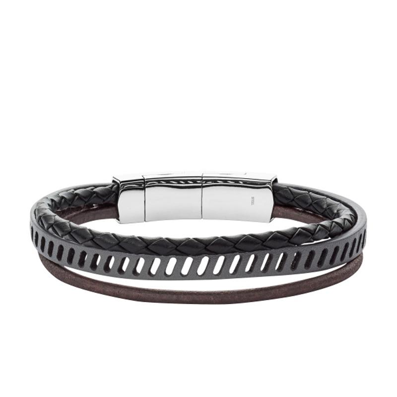 FOSSIL læder Armbånd med 3 snore i sort og brun