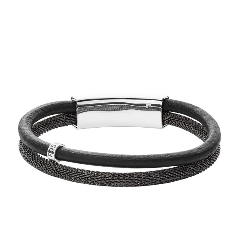 FOSSIL Armbånd i sort læder og mesh