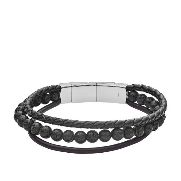FOSSIL læderarmbånd med lava stenarmbånd