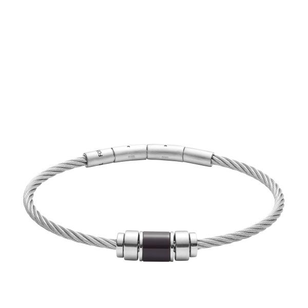 FOSSIL stål wire armbånd med stål led