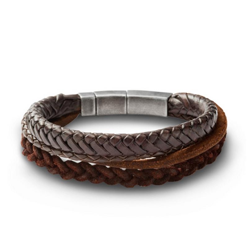 Fossil armbånd i brunt flettet læder