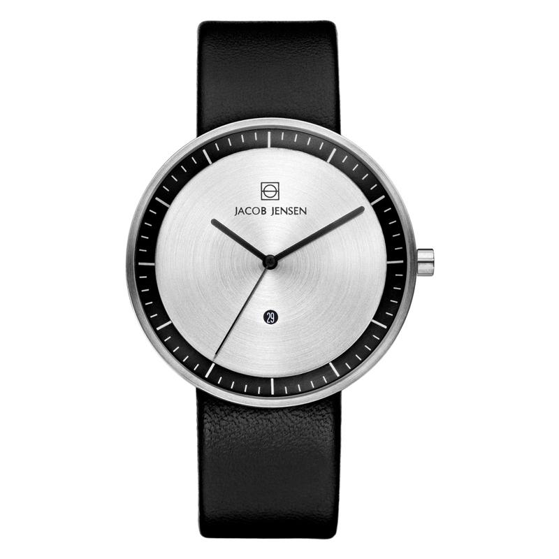 Image of   Jacob Jensen Strata armbåndsur i stål med læderrem Ø41