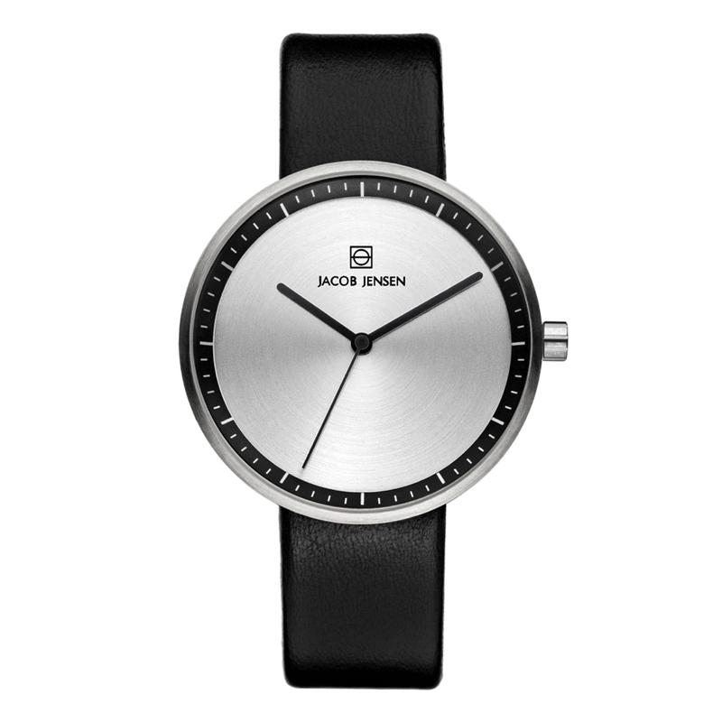 Image of   Jacob Jensen Strata armbåndsur i stål med sort rem Ø36