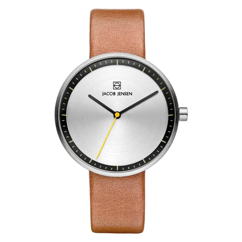 Image of   Jacob Jensen armbåndsur i stål med brun rem Ø36