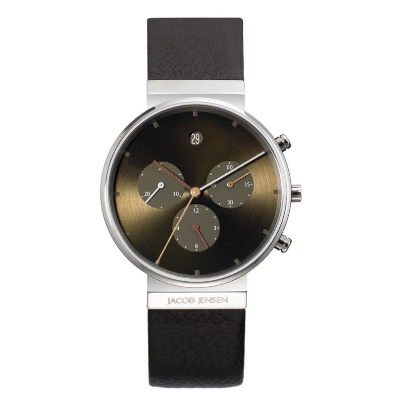 Image of   Jacob Jensen Chronograph armbåndsur i titan med brun skive