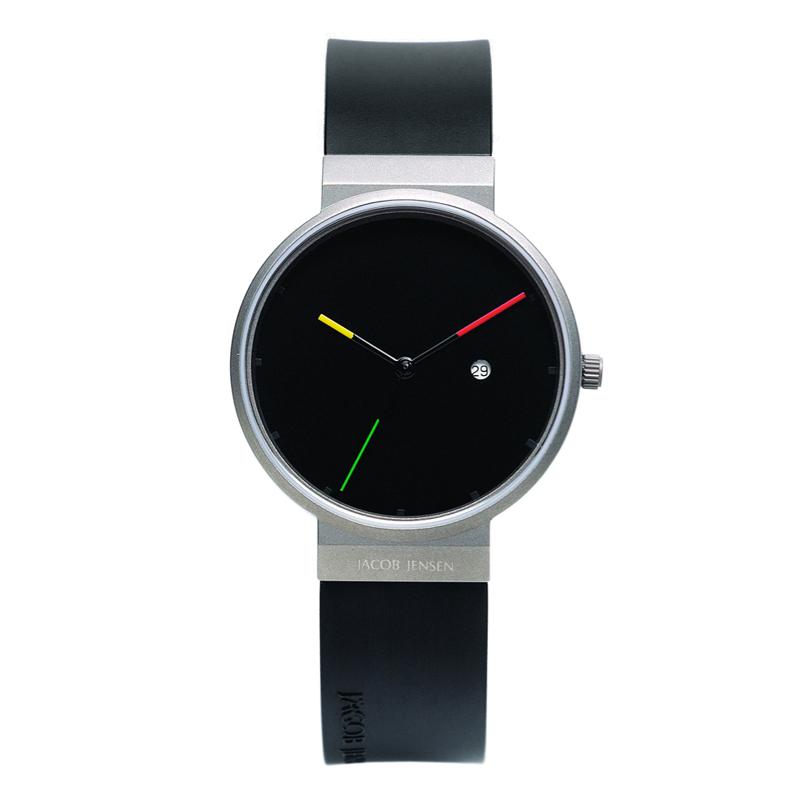 Image of   Jacob Jensen Titanium armbåndsur i sort med gummirem Ø35