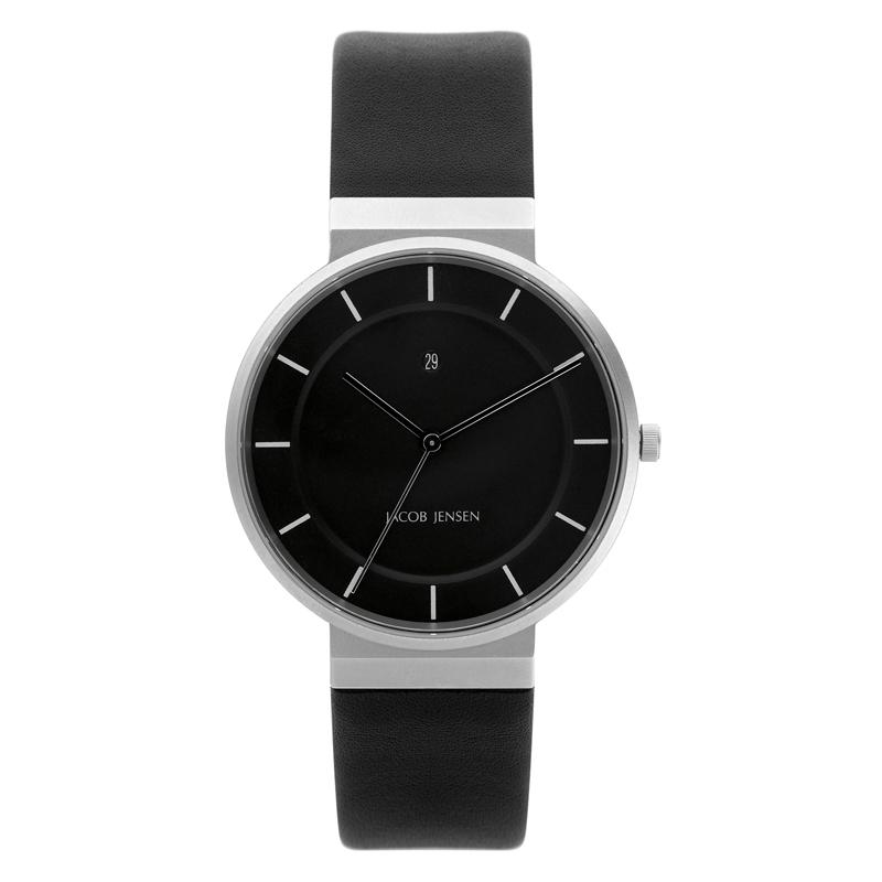 Image of   Jacob Jensen Dimensions armbåndsur i stål med sort rem Ø38