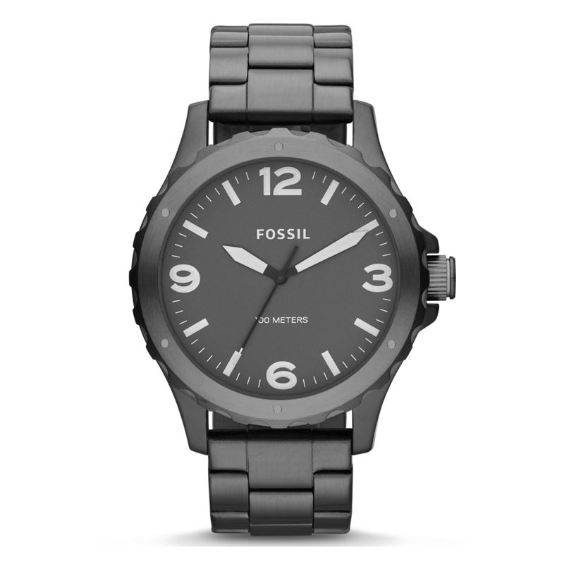 Fossil Nate armbåndsur i sort stål med lænke