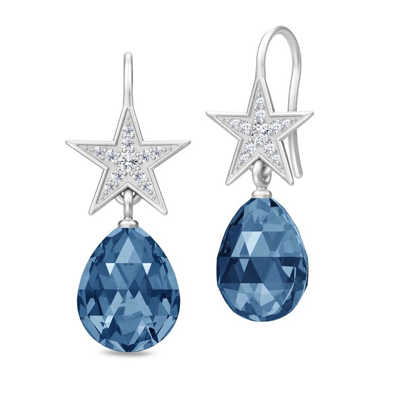 Julie Sandlau Stella Briolette ørehænger sølv rhodineret med safirblå krystal