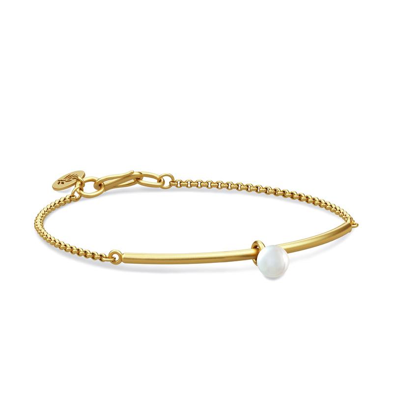 Image of   Julie Sandlau Perla armbånd i forgyldt med hvid perle