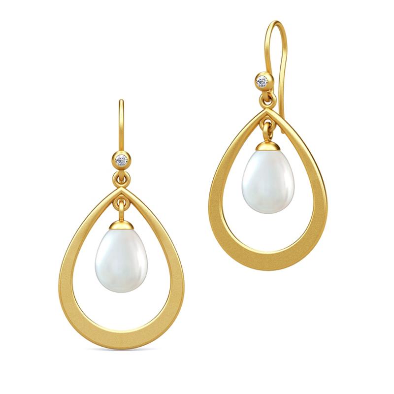 Image of   Julie Sandlau Perla ørehænger i forgyldt med hvide perler