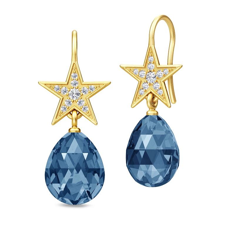 Julie Sandlau Stella Briolette ørehænger sølv forgyldt med safirblå krystal