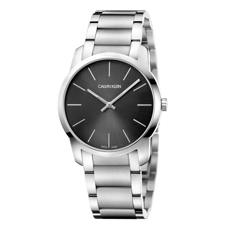 Image of   Calvin Klein - CK City armbåndsur i stål med lænke og sort skive