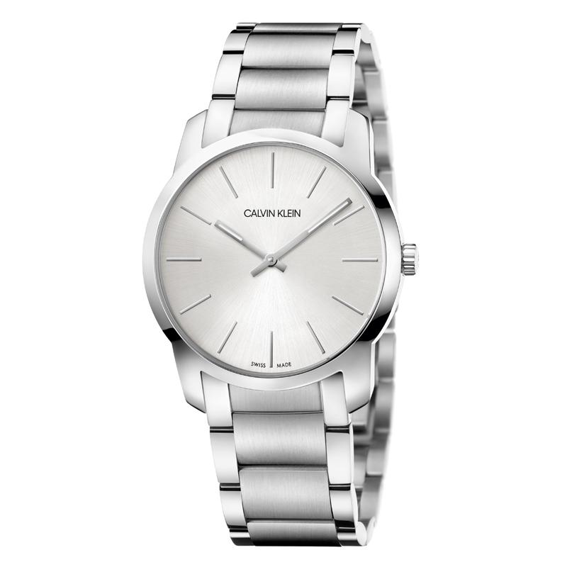 Image of   Calvin Klein - CK City armbåndsur i stål med lænke og grå skive
