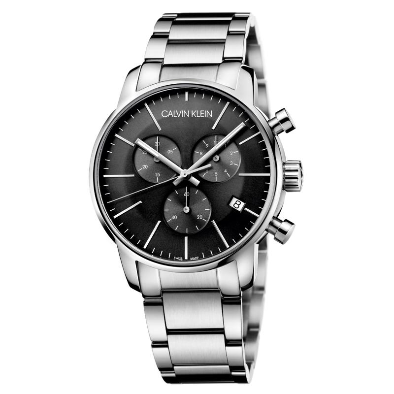Billede af Calvin Klein - CK City armbåndsur i stål med sort skive og stål lænke