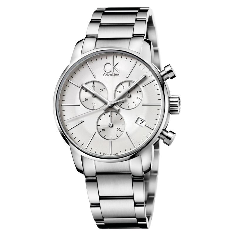 Image of   Calvin Klein - CK City armbåndsur i stål med hvid skive og stål lænke